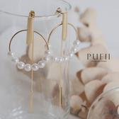 現貨◆PUFII-耳環 正韓圓形珍珠一字耳環-0226 春【CP18044】