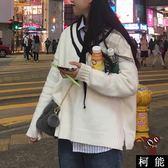 毛衣【8301】針織毛衣 學院風 下擺開叉 寬鬆顯瘦 純色百搭 條紋V領 套頭學生毛衣女潮