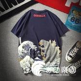 短袖T恤-新款個性怪獸圖案印花短袖T恤男士寬松大碼圓領運動半袖-奇幻樂園