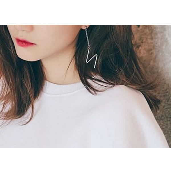 耳環 日韓時尚新款個性百搭閃电型長款垂墜式耳環【1DDE0623】