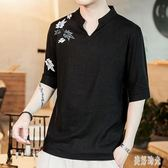 中國風男裝亞麻短袖t恤男中式立領唐裝復古風棉麻大尺碼寬鬆t桖CC3346『美好時光』