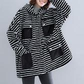毛毛茸連帽棉衣秋冬新款條紋豹紋200斤胖MM大尺碼減齡保暖長袖外套