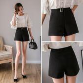 短褲女新款高腰學生韓版黑色寬鬆百搭闊腿褲休閒褲子 俏女孩