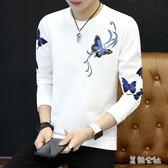 圓領薄款打底衫青年韓版潮流男士衛衣寬鬆秋衣長袖T恤    LY7615『美鞋公社』