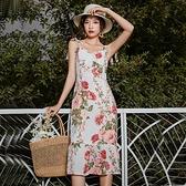 洋裝 韓系度假風細肩帶荷葉邊露背碎花連身裙 花漾小姐【預購】