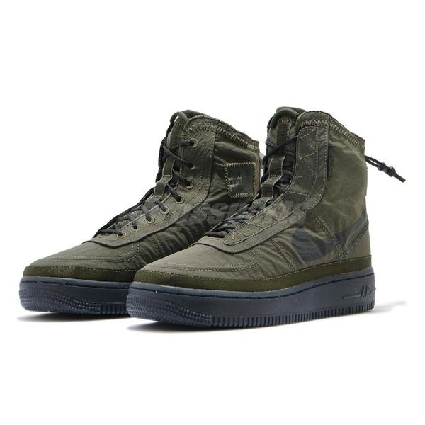 Nike 休閒鞋 Air Force 1 Shell AF1 軍綠 黑 女鞋 高筒 特殊鞋面 【ACS】 BQ6096-301