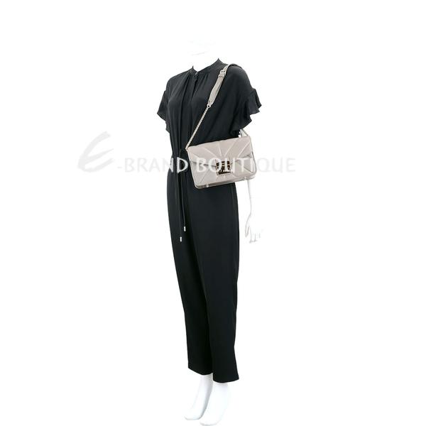 FURLA Metropolis 金釦幾何車線鍊帶肩背包(灰色) 1920843-06