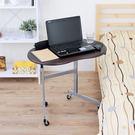 活動式床邊桌 活動式電腦桌[耐重型]活動式餐桌(附四個工業用輪子)-深胡桃木色TB4880H2-DW