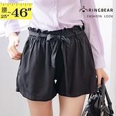 短褲--輕甜優雅俏麗滿點百搭凸點雪紡雙口袋寬口鬆緊腰綁帶花苞短褲(黑XL-4L)-R167眼圈熊中大尺碼