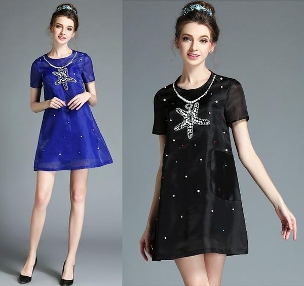 卡樂 store...小中大尺碼歐根紗透視性感連身裙二件套 S-5XL 2色 #bl2132