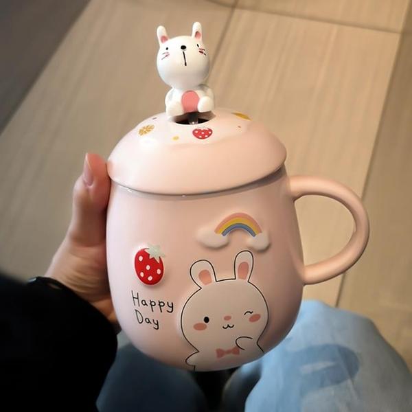 可愛馬克杯帶蓋勺女情侶水杯網紅款大容量辦公室陶瓷杯子創意家用 橙子精品