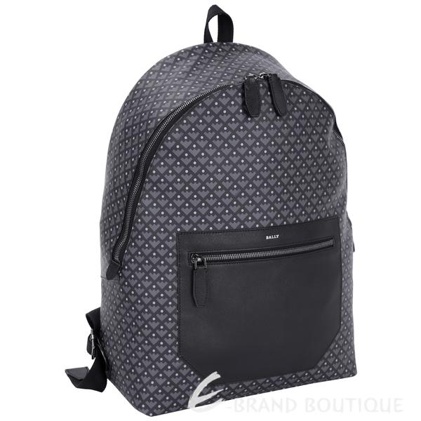 BALLY MATTERHRON 幾何格紋點點設計後背包(黑灰色) 1540602-58