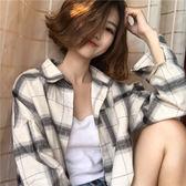 2019春季新款港風復古韓版chic寬松百搭顯瘦大格子長袖襯衫上衣潮
