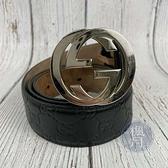BRAND楓月 GUCCI 古馳 411924 黑GG紋銀皮帶 #95 小牛皮 GG紋皮帶頭 配飾 配件 飾品 飾物