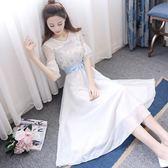 短袖洋裝夏季新款小清新日系短袖V領雪紡刺繡連衣裙超仙 mc7095『東京衣社』