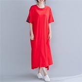短袖連身裙-文字印花紅色長版女洋裝73xz23[巴黎精品]
