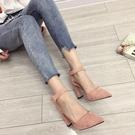 高跟鞋女 尖頭高跟鞋 時尚絨面淺口尖頭性感瘦一字扣帶皮帶扣單鞋韓版女鞋子《小師妹》sm3343