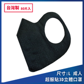 ◤2盒組◢台灣製造 時尚黑 超服貼3D立體 成人口罩(80片/盒)