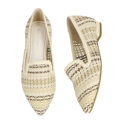 【ORiental TRaffic】編織網格尖楦樂福鞋-簡約白