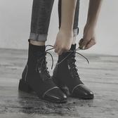 英倫風馬丁靴女百搭黑色靴子粗跟短靴單靴 【新飾界】 新飾界