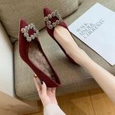 法式高跟鞋少女2019新款百搭尖頭單鞋女細跟性感網紅女鞋加絨婚鞋