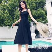 新款吊帶長裙綁帶縮腰洋裝女中大尺碼露肩小黑裙收腰顯瘦裙子 GB5937『miss洛羽』