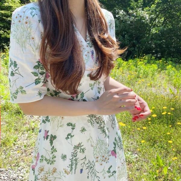 洋裝韓國chic小清新復古收腰顯瘦碎花連身裙7689#NE440.1號公館