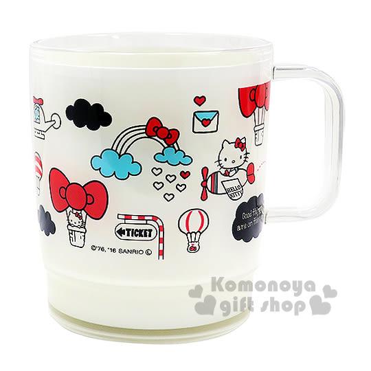 〔小禮堂〕Hello Kitty 日製塑膠小水杯《透明.白.熱氣球.蝴蝶結.360ml》 4970825-11209
