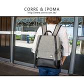 CORRE【LI708】亞麻雙皮釦後背包