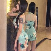 洋裝連身裙2019夏裝新款裙子韓版復古氣質露背年輕短款少女小香風連身裙旗袍/米蘭世家