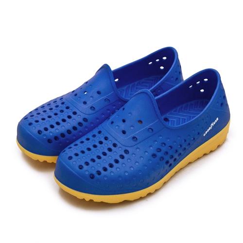 LIKA夢 GOODYEAR 排水透氣輕便水陸多功能休閒洞洞鞋 藍橘 03676 男