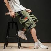 夏季五分褲男工裝短褲日系加肥大碼潮牌寬鬆胖子沙灘褲直筒七分褲