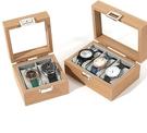 手錶收藏盒 花梨木紋手表盒首飾收納盒子玻璃天窗腕表收藏箱手表展示盒【快速出貨八折鉅惠】