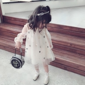 夏季甜美紗網兒童連身裙 中小童氣質星星女童寶寶蓬蓬裙
