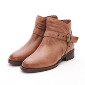 MICHELLE PARK 經典帥氣金屬釦飾綿羊皮拉鍊粗跟短靴-棕