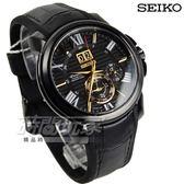 SEIKO 精工 Premier Kinetic 人動電能系列 萬年曆大視窗男錶 防水手錶 真皮帶 黑 SNP145J1 7D56-0AE0C