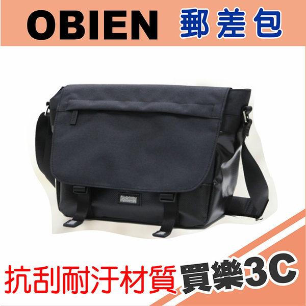 OBIEN 都會型小款郵差包 側背包 黑,防潑水抗刮耐汙材質,高級YKK拉鍊,可放10吋平板電腦,海思