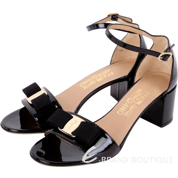 Salvatore Ferragamo GAVINA 漆皮蝴蝶結繫帶粗跟鞋(黑色) 1830012-01