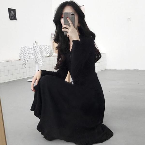 洋裝秋冬裝年新款女赫本風復古黑色長裙過膝收腰氣質針織洋裝子【新春特惠】