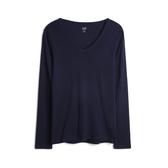 Gap女裝棉質舒適純色V領T恤514604-海軍藍色