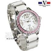 valentino coupeau 范倫鐵諾 古柏 日本機芯 大數字水晶鑽陶瓷女錶 夜光指針 學生錶 白x粉紅 V61296-5
