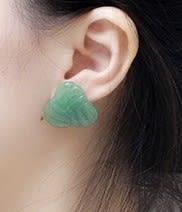 [協貿國際]天然東陵玉耳環925純銀耳針單對價
