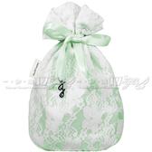 ☆17go☆ JILL STUART 吉麗絲朵 花鑽蕾絲束口包(綠意微風)