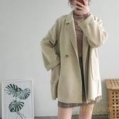 時尚大衣毛呢外套女短款寬松冬季雙面呢裝外套【繁星小鎮】