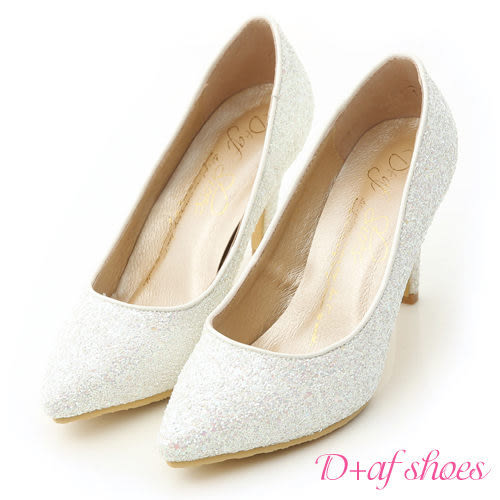 婚鞋 D+AF 絕美閃耀.滿滿亮片美型尖頭高跟鞋*白