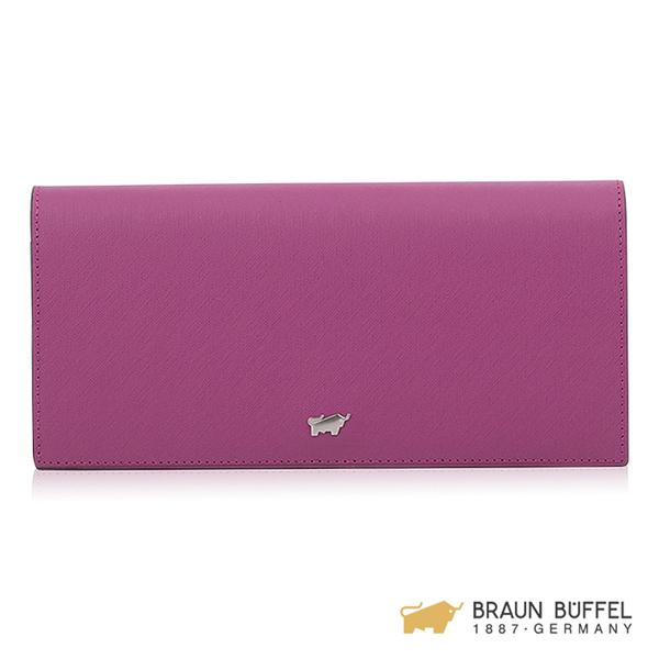 【BRAUN BUFFEL】美莉莎-III系列21卡兩折長夾 -粉紫 BF651-200-BO