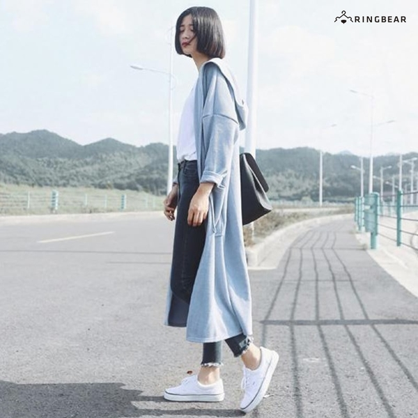 罩杉--優雅簡約風寬鬆修身加長口袋素色保暖針織長版外套(黑.藍XL-4L)-J248眼圈熊中大尺碼◎