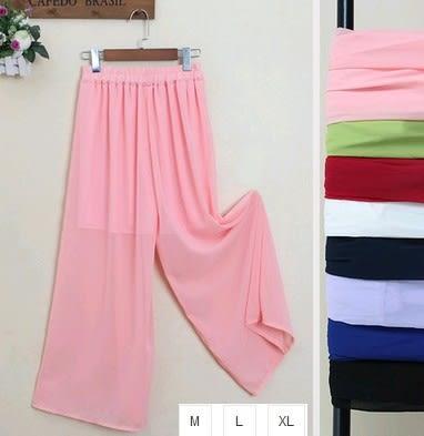 EASON SHOP(GU0752)實拍雪紡純色高腰寬褲長褲薄款褲裙寬鬆休閒褲單色素色新款女褲長褲長裙