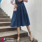 牛仔裙輕便好搭 鬆緊腰綁帶百摺牛仔長裙 艾爾莎【TAE6571】