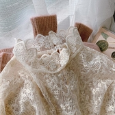 蕾絲打底衫女長袖春秋內搭氣質韓版洋氣網紗秋冬鏤空上衣